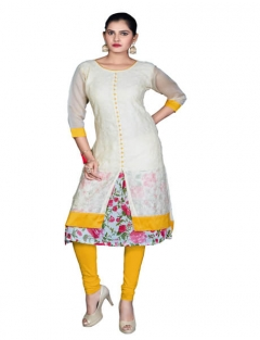 Velentino Trend Offwhite Color Embroidered Kurtis