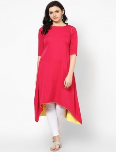 Velentino Trend Red Color Solid Cotton Kurtis