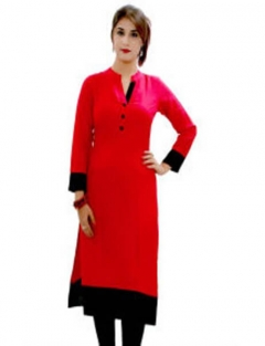 Velentino Trend Red Color Cotton Kurtis