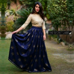 BLUE WITH GOLDEN COLOR LEHENGA CHOLI