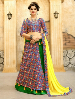 MULTI GREEN WITH YELLOW COLOR CHOLI